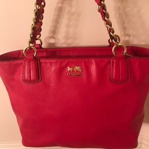 Coach pink leather bag and wallet